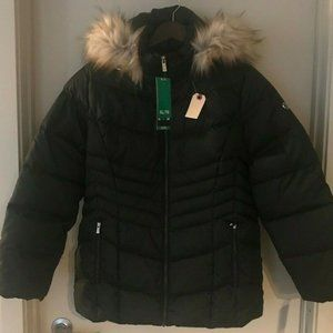 Calvin Klein Faux Fur Hooded Puffer Jacket Size XL